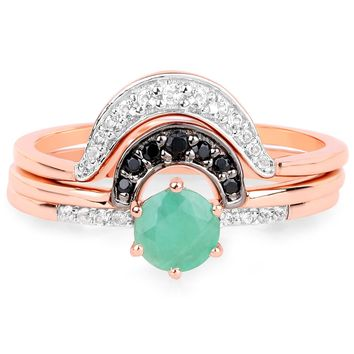 LoveHuang 0.57 Carats Genuine Emerald. Black Spinel, and White Topaz  Stacking Rings Solid .925 Sterling Silver With 18KT Rose Gold Plating, 3 Separate Rings