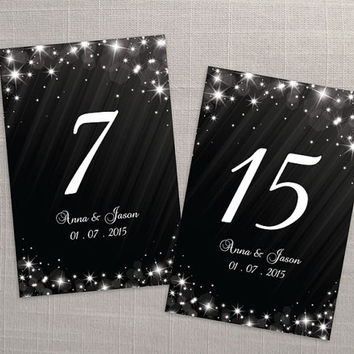 DIY Printable Wedding Table Number Template | Editable MS Word file | 4 x 6 | Download | Winter White New Years Heaven Sparkles Black