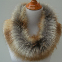 Large Faux Fur NECKWARMER Scarf, Fox Gold Tip Dyed Faux Fur, Fur Neckpiece, Fur Collar, Women's Cowl