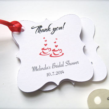Bridal shower favor tags personalized, custom gift tags,party favor tags, thank you tags - 30 count