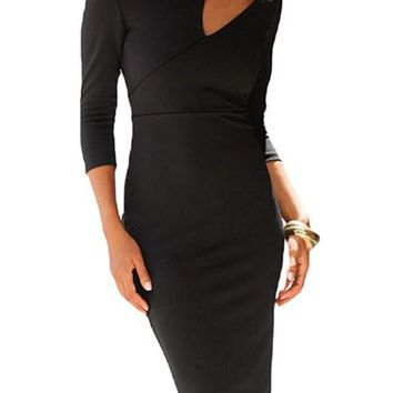 Elegant Black Asymmetric Cutout Shoulder Bodycon Midi Dress