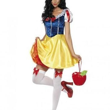 MOONIGHT Adult Snow White Costume Carnival Halloween Costumes For Women Fairy Tale Cosplay Female Fancy Dress
