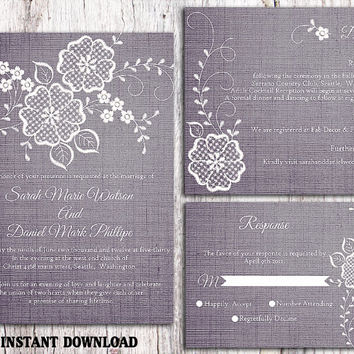 DIY Lace Wedding Invitation Template Set Editable Word File Download Printable Rustic Wedding Invitation Vintage Floral Blue Invitation