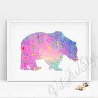 Bear Poster Art - Bear watercolor art, Home Decor, Nursery Art Decor, Bear Print Art, Animal Art, Kids room Decor, Teddy bear
