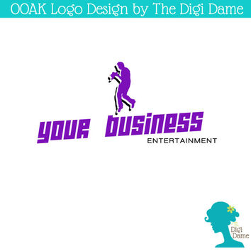OOAK Premade Logo Design: Dancing Man Entertainer in Purple and Black
