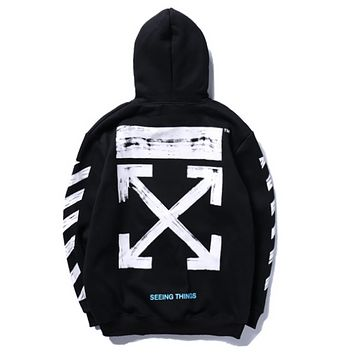off white autumn and winter men and women plus cashmere hooded hoodie sweater Black