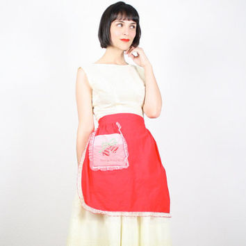 Vintage Apron Christmas Apron Half Apron Waist Apron Xmas Holiday Festive Red White Green Embroidered Retro Gift For Her Lace Trim Mod Bells