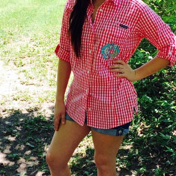 Lilly Pulitzer Monogrammed Gingham Columbia Fishing Shirt
