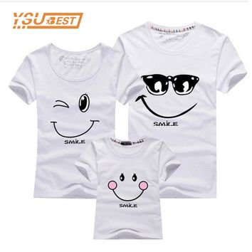 Matching Clothes Fashion Family Outfit Set New 2017 Cotton Family Matching T Shirt Smiling Face Shirt Short Sleeves Tees Tops