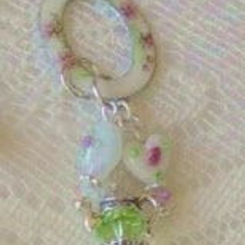 Antique Enamel Charm Holder with White Lampwork Beads and Peridot Crystal Teapot Charm - Only 1 Available!