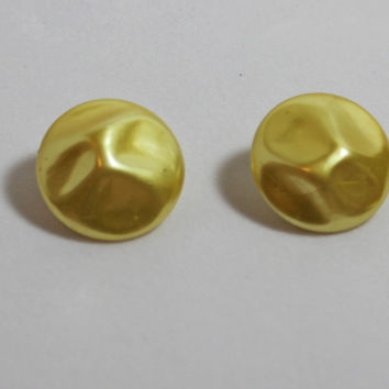 Vintage Yellow Clip On Earrings  pearl finish sunny round summer style ladies costume jewelry