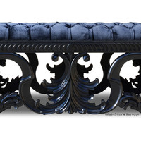 Fabulous and Baroque — Simone Velvet Upholstered Bench - Black