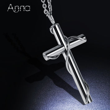 A&N Stereoscopic Stainless Steel Pendent Choker Necklace Streak Cross Pendent Necklace Religion Jewelry 45cm Long Necklace Chain