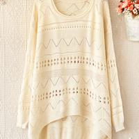 LOOSE EDGE ROUND NECK LONG SLEEVE HOLLOW-OUT BEIGE SWEATER