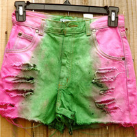 Kids Watermelon Distressed High Waisted Shorts