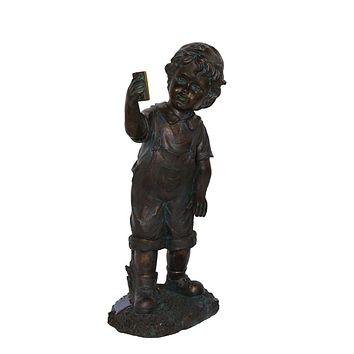 "18"" Distressed Black & Bronze Boy with Cell Phone Solar Powered LED Lighted Outdoor Patio Garden Statue"