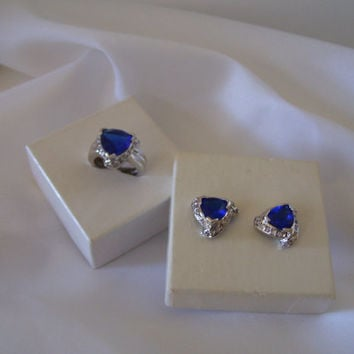 Clearance SALE 30% Off Tanzanite Diamond Cz Trillion Blue Valentine Vale Ring Earrings Set Fine Jewelry 925 Silver