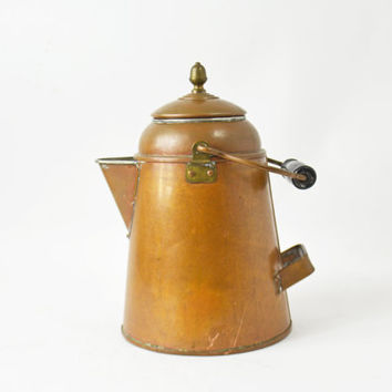 Copper Coffee Pot, Cowboy Coffee Pot, Solid Copper Pot, Vintage Copper Kettle, Rustic Copper Pot, Coffee Maker, Camping Coffee Pot,