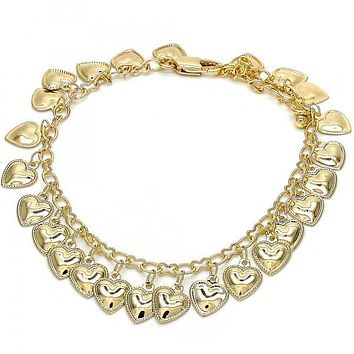 Gold Layered 03.105.0077.08 Charm Bracelet, Heart Design, Polished Finish, Golden Tone