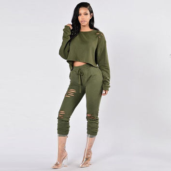 Fashion Hoodies Sweatshirt 2016 Sexy Women Hoodie Suit 2 Piece Set LJ5651M