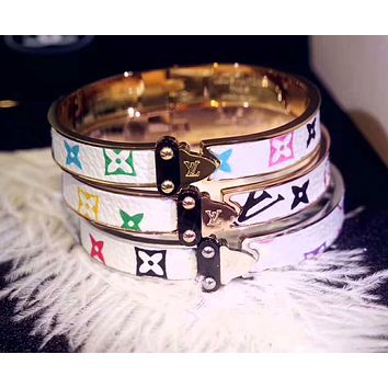 LV Louis Vuitton Stylish Women Personality Leather Bracelet Accessories Jewelry