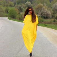 SALE ON 20 % OFF Yellow Dress/ Kaftan/ Long dress/ Caftan/ Plus size dress/ Plus size clothing/ oversized dress/ Casual dress/ Party dress