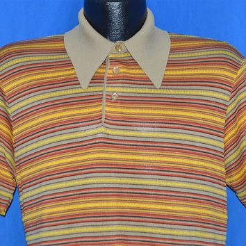 70s Pierre La Grande Yellow Tan Red Striped Polo Shirt Medium
