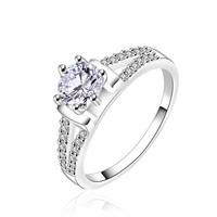 Round Cubic Zirconia Sapphire White Engagement Ring
