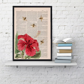 Wall art home decor Bees and the Hibiscus  Dictionary art print- Wall decor bees insect wall hanging - Wall art gift for her. Poster art