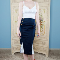 Marine pin up rockabilly high waisted pencil skirt