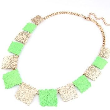 ** MAKE OFFER ** New Elegant Green and Gold Statement Necklace Independent Designer one size by Alisha's Fashion