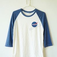 Nasa tshirt fashion shirt tumblr graphic shirt funny tshirt pocket tshirt baseball tee baseball shirt 3/4 long sleeve women shirt men shirt