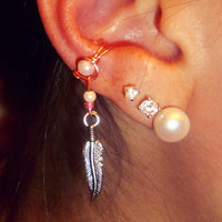 Ear Cuff - Feather Hanging