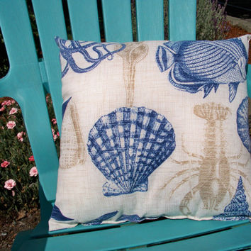 "18"" x 18"" Outdoor/Indoor Pillow, Beach Pillow, Nautical Theme Pillow, Accent Cushion, Beach Cushion"