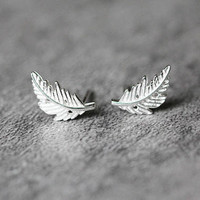 Silver Tree Leaf Stud Earrings, Sterling Silver Leaf Earrings, Tiny earrings, Leaf studs, boho earrings, Leaf Jewelry, gifts for her
