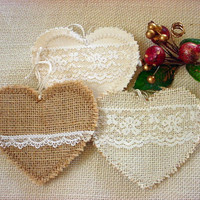 Burlap and Lace Heart Ornaments Wedding Gift Valentine Tag Favor Bunting Garland Mobile Shabby Rustic Chic Decor