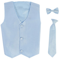 Light Blue Poly-Silk Boys Vest & Tie Set 3M-14