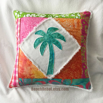 Palm tree boho pillow cover patchwork with pink, green, orange, and aqua batiks and bleached white distressed denim 16""
