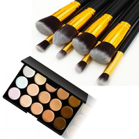 15-Color Concealer Palette & 8pcs Wooden Handle Makeup Brush Kit