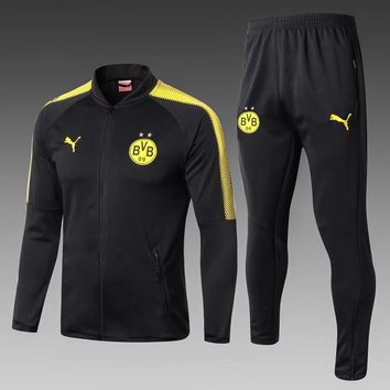 KUYOU Borussia Dortmund 2017/18 Black Men Jacket Tracksuit Slim Fit