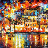 "The Shores of Spain — ORIGINAL Oil Painting By Leonid Afremov - Size: 30"" x 24"" This Price Only With Promotion Buy Two Get One Free!"