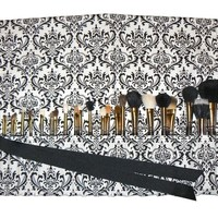 Large Makeup Brush Roll Holder Organizer, Damask, Black and White - In Stock Ready To Ship