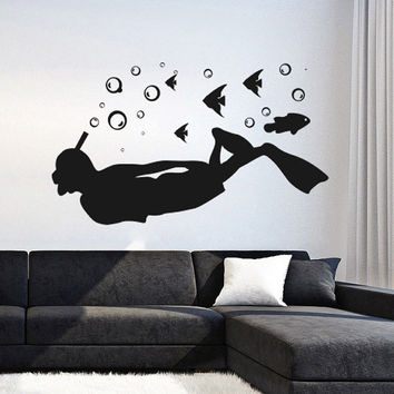 I219 Wall Decal Vinyl Sticker Art Decor Design diving sea dive to the ocean floor explore beautiful fish puzzle Living Room Bedroom
