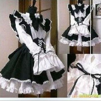 LMFON Gothic Lolita Cosplay Costume Home Maid Sissy Dress Custom Made Free Shipping