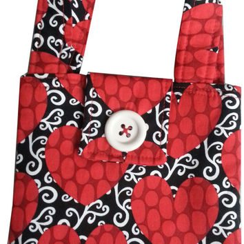Little Purse in Black and Red Hearts