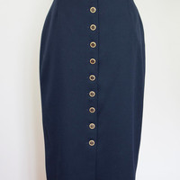Vintage Womens Betty Barclay Blue Button Nautical Pencil Skirt Calf Length 14 40 Brass Metal Cute Secretary