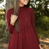 Forever Yours Wine Red Sweater Dress