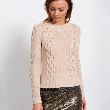 DARLING EYELET CABLE KNIT SWEATER