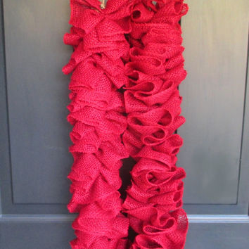 Red Burlap Garland, 6 Ft or 8Ft, Ruffled Gathered Banner, Rustic Christmas Home Decorations, Holiday Fireplace Mantel Door Stairs Banister