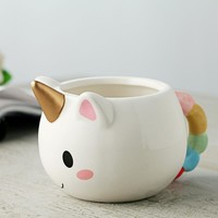 Cartoon Unicorn Mug 3D Ceramic Unicorn Coffee Cup Children Girl Boy Cute Creative Unicorn Mug Gift 2 Color